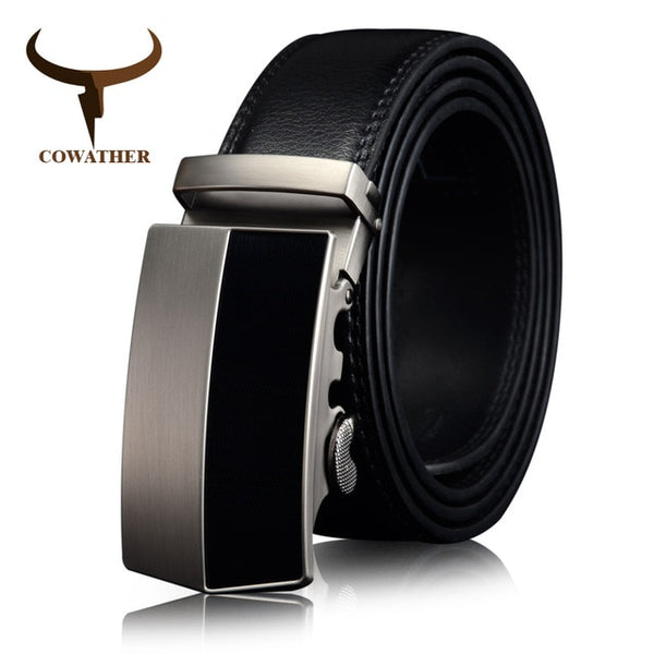 COWATHER cow Genuine Leather Belts for men new business Buckle black brown strap for male luxury belt length 110-130cm CZ063
