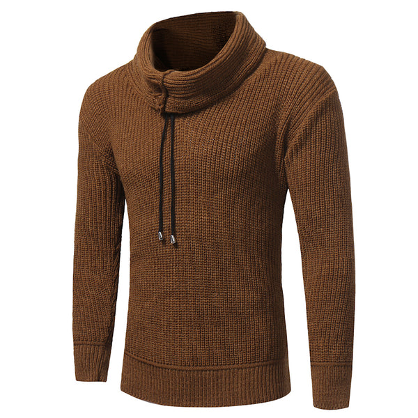 2017 new men's fashion color coarse wool turtleneck elastic thick long sleeved sweater