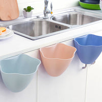 Creative Kitchen Trash Basket Hanging Waste Bin Storage Basket Multifunction Desktop Storage Box Plastic Storage Bucket