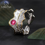 Lotus Fun Real 925 Sterling Silver Natural Tourmaline Handmade Designer Fine Jewelry Adjustable Leaf Rings for Women Bijoux