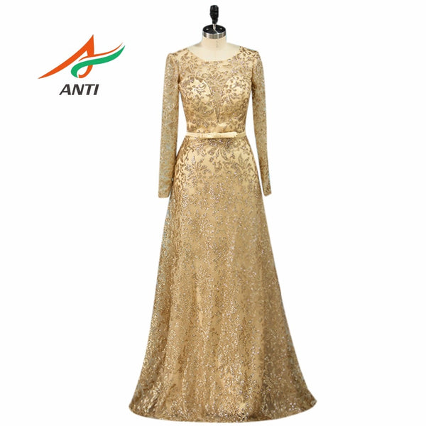 ANTI Elegant Long Sleeve Mother Of The Bride Dress Vestido De Madrinha Mutter Der Braut  Party Women Sequined Lace Evening Gown
