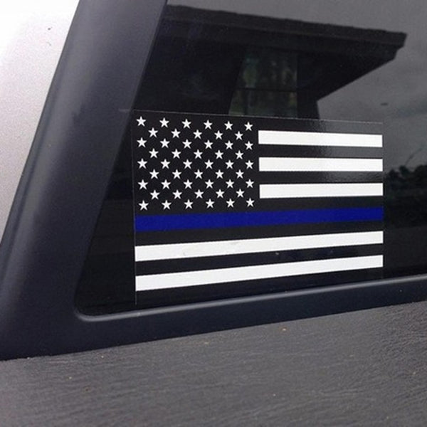 Police Officer Thin Blue Line American Flag Vinyl Decal Car Sticker O23