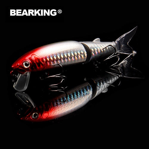 Bearking 2016good fishing lure minnow quality professional bait 11.3cm 13.7g swim bait jointed bait equipped black or white hook