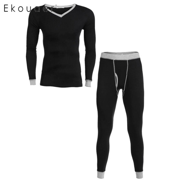 Ekouaer Brand Men Cotton Sleepwear Suit V-Neck Long Sleeve Top & Pants Patchwork Pajama Set Autumn Winter Slim Solid Sleepwear