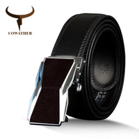COWATHER New Arrival  men's belt cow genuine leather belt cowhide male strap vintage automatic buckle belts for men alloy buckle