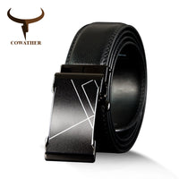 COWATHER Vintage  Cow Genuine Leather Belts for Men Cowhide Male Strap Automatic Metal Buckle High Quality Men Belts 110-130cm