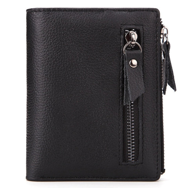 2018 New Genuine Leather Mens Wallet Man zipper Short Coin Purse Brand Male Cowhide Credit&id Wallet Multifunction Small Wallets