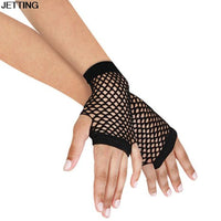 Black 1 Pair Womens Short Fishnet Net Gloves Fingerless Mesh Gloves Punk Rock Costume Fancy Night Club Party Accessories