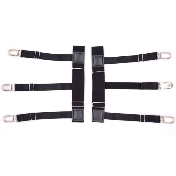 2Pcs/Set Mens Shirt Stays Holder Non-slip Locking Clamps Elastic Leg Suspenders