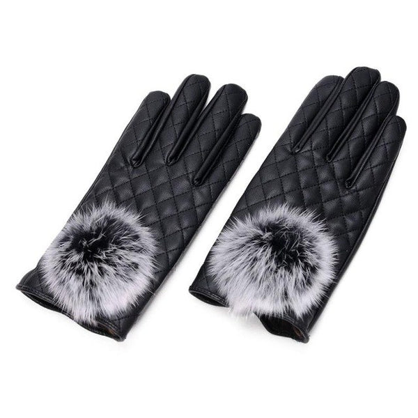 2017 New Arrival Womens Fashion Leather Winter Outdoor Warm black Gloves Pom pom leather driving gloves mittens women guantes