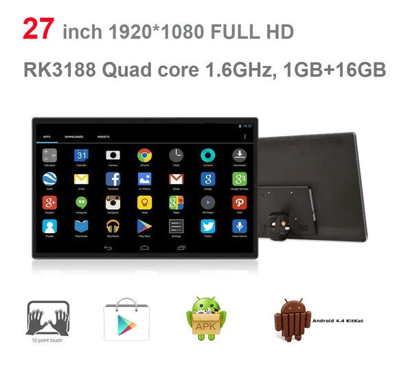 27 inch Android all in one pc (touch screen, Rockchip3188,quad core, 1GB DDR3,8GB nand,5M camera, 3W*2 speakers,VESA,Bluetooth)
