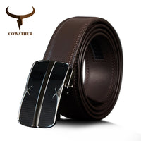 COWATHER Male Strap For Men Cow Genuine Leather Men Belt High Quality Automatic Buckle Belts Black Brown Cowhide Leather Belts