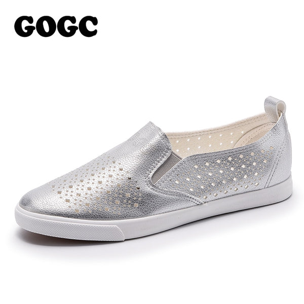 GOGC 2018 Slipony Women Hole Shoes Ladies Leather Shoes Breathable Soft Women Flats Shoes Vulcanized Slip on Women Sneakers