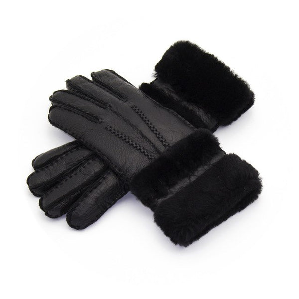 Gloves Women'S Mitten Winter Warm Fur Leather Thick Fashion Glove Sheepskin Casual Wool Clothing Accessories Apparel Plaid Wool