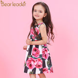 Bear Leader Girls Dresses 2018 New Brand Princess Clothing Flower Pattern Sleeveless A-Line Baby Girls Dress For 3-8 Years