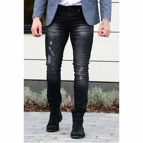 Envmenst 2018 Fashion Men Spring Distressed Design Denim Trousers Male Slim Fit Zipper Elastic Jeans black/blue