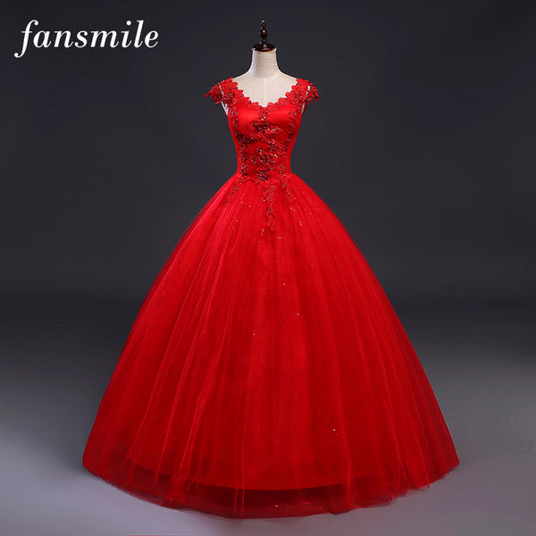 Fansmile Red V-neck Robes de Mariee Vintage Lace Up Wedding Dress 2017 Cheap Red Bridal Dress Real Photo Free Shipping FSM-139F