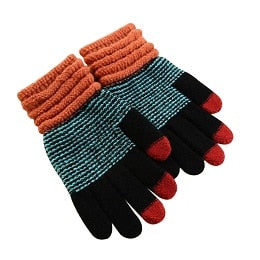 Men Fashion Warm Patchwork Thick 3 Fingers Touch Screen Knit Stretch Glovess