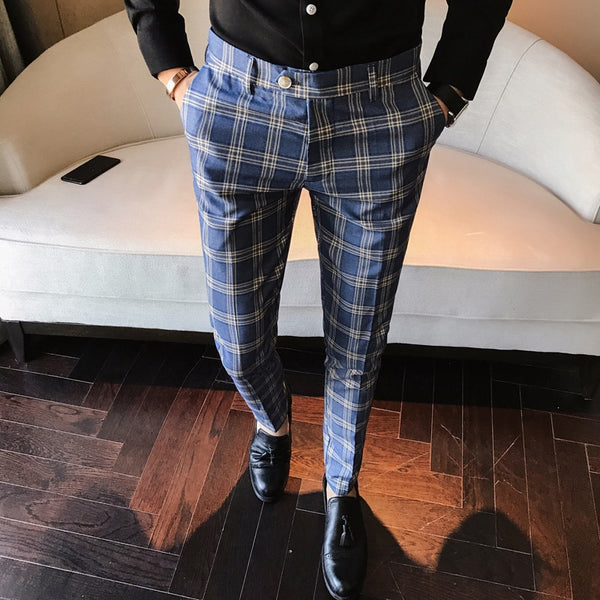 Men Dress Pant Plaid Business Casual Slim Fit Pantalon A Carreau Homme Classic Vintage Check Suit Trousers Wedding Pants