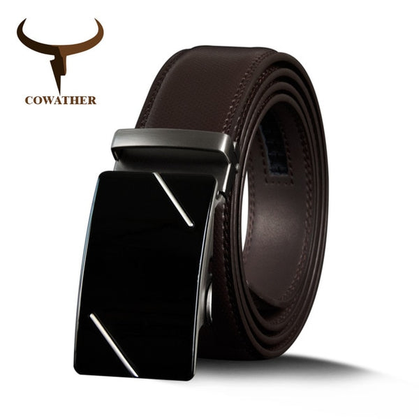 COWATHER cowhide leather belt for men male cow genuine leather strap luxury metal automatic buckle casual fashion men's belts