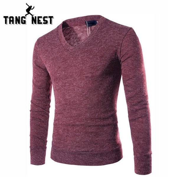 TANGNEST 2018 New Arrival Men V-Neck Sweater Casual Comfortable Solid Color Sweater Men Soft Slim Pullover Plus 7 Colors MZL598