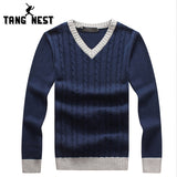TANGNEST 2018 Autumn Long-sleeved V-Neck Pull Homme Comfortable Slim Patchwork Men Sweater 3 Colors Casual Sweaters MZM541