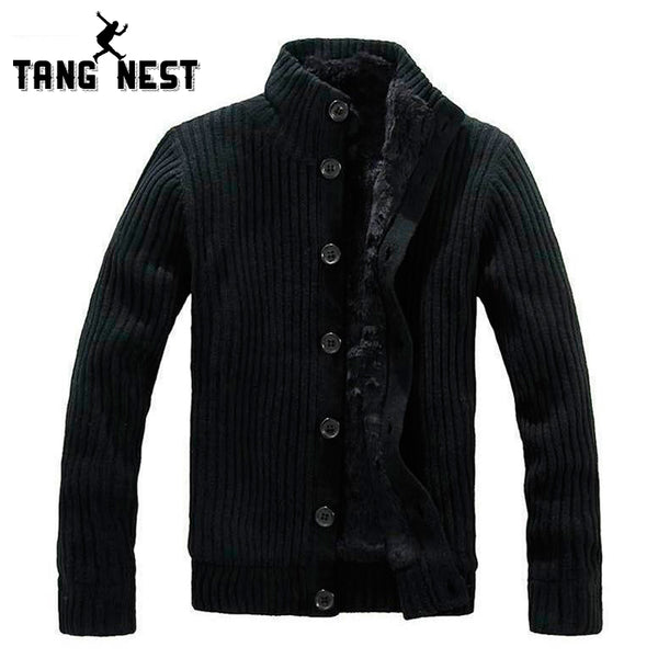 TANGNEST 2018 New Thick Men Warm Sweater Cardigan With Fur Good Quality Popular Soft Sweater Men Functional Comfortable MWK022