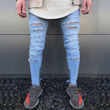 2018 Envmenst Top Fashion Men's High Street Ripped Jeans Hole Designed Skinny Pencil Denim Pants Stretch Extend Biker Trousers