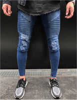 2017 Envmenst Brand Designer Slim Fit Ripped Jeans Men Hi-Street Mens Distressed Denim Joggers Knee Holes Washed Destroyed Jeans