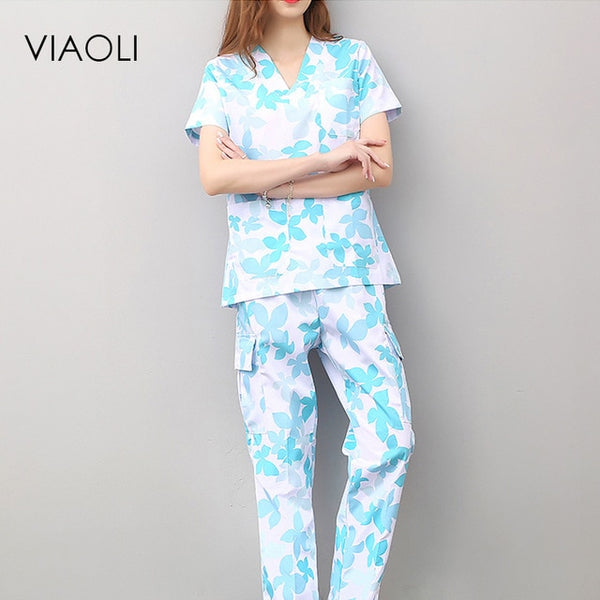 Viaoli women and men Medical Uniforms Nursing Scrubs Clothes Short Sleeve coat Doctor Clothing  Brush hand clothing v-collar