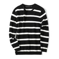 TANGNEST Men Striped Vintage Sweaters Slim Fit 2018 Warm Fashion Round Collar Male Leisure Asian Size Pullover MZM501