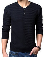 TANGNEST Solid Color Men Casual Sweater 2018 New Fashion V-Neck Sweater Hot Sale Comfortable Slim Full Pullovers Male MZM360