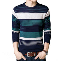 TANGNEST 2018 New Striped O-Neck Men Sweater Plus Velvet Fashion Design Long-sleeved Pullover Men Casual Pull Homme MZL721