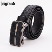 HEE GRAND 2018 Men Good Quality Cowskin Belt Men's Casual Strap Male Metal Automatic Buckle Belts PYP114
