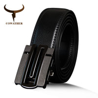 COWATHER Top Quality Men Belt Cow Genuine Leather Automatic Buckle Male Strap Cowhide Fashion Belt For Men Metal Buckle Strap