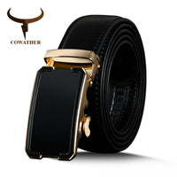 COWATHER Top Quality Cow Genuine Leather Men Belts Automatic Buckle Vintage Male Strap Metal Buckle Belts For Men 110-130cm