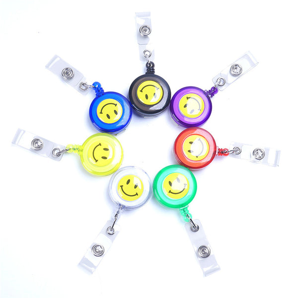 Compact Design Smiling Face ID Holder Name Tag Card key Badge Holder Retractable Round Solid Translucent ID Holder