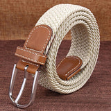HEE GRAND 2018 Brand Men's Fashion Knitted Belt Pin Buckle Striped Canvas Casual Fabric Knit Strap Belts Waist Cinto PYB110