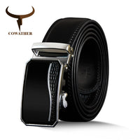 COWATHER Men Automatic Buckle Cow Genuine Leather Belts luxury Belts Business Male Strap Alloy Buckle Cowhide Belts for Men