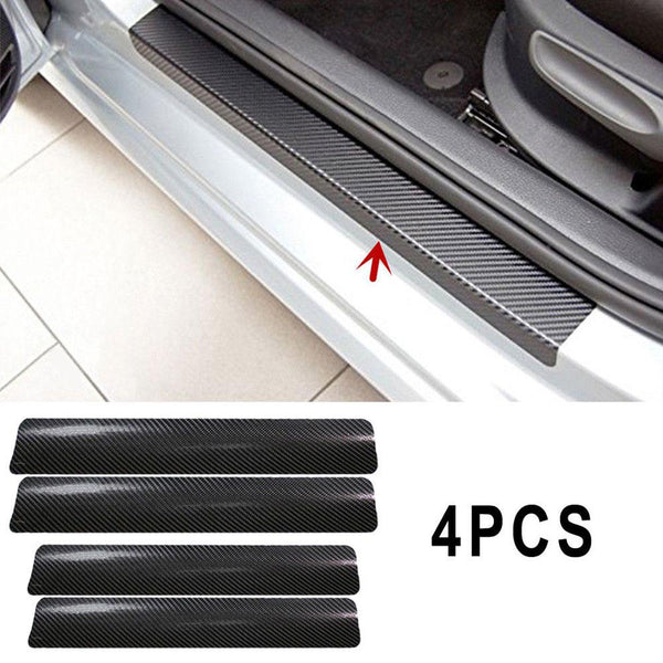Vehemo 4Pc Black Car Door Plate Stickers Carbon Fiber Look Car Sticker Sill Scuff Cover Anti Scratch Decal Universal For All Car