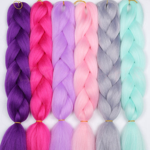 MERISIHAIR 24inch Ombre Kanekalon Synthetic Crochet Hair Extensions Jumbo Braids Hairstyles Pink Blonde Red Blue Braiding Hair
