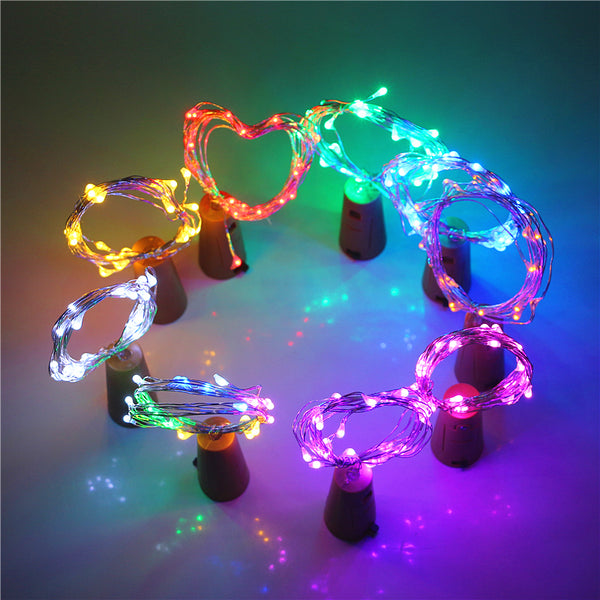 2M Bottle Colorful Led Fairy Lights 20 Leds AG13 (LR44) Battery Operated LED String Light for Xmas Wedding Party Decoration Lamp