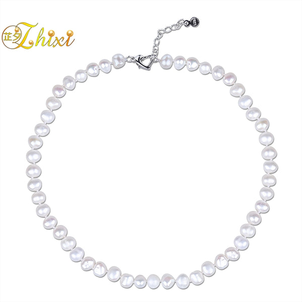 ZHIXI Baroque Pearl Necklace Fine Jewelry Natural Freshwater Pearl Choker Neckalce 8-9MM Trendy Birthday Gift For Women T242x