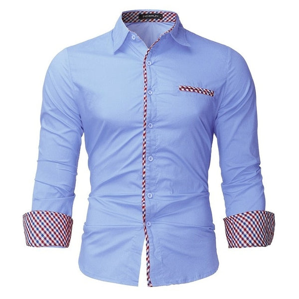 2018 New Arrival Men Shirts Europe Size Slim Fit Male Shirt Solid Long Sleeve British Style Cotton Men's Shirt camisa masculina