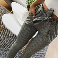 New Plaid high waist harem pants Women summer style ankle-length vintagel pants female office lady white striped trousers
