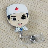 1Pc Cute Cartoon Minni  Retractable Badge Reel Student Nurse Exihibiton Pull Key ID Name Card lanyards Badge Holder Clip