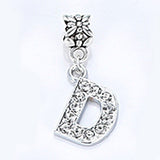 2017 Hot Sale Alloy Bead Charm Letter Of The Alphabet With Crystal Pendant Beads Fit Pandora Bracelets & Bangles DIY Jewelry