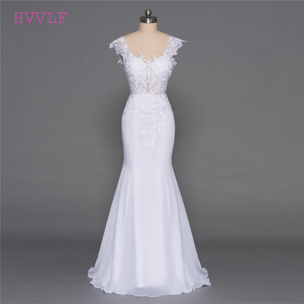 Backless Vestido De Noiva 2018 Beach Wedding Dresses Mermaid Deep V-neck Appliques Lace Cheap Boho Wedding Gown Bridal Dresses