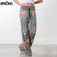 Aproms Yellow Color Blocked Wide Leg Pants Women Summer 2018 Streetwear High Waist Pants Elastic Casual Drawstring Long Trousers