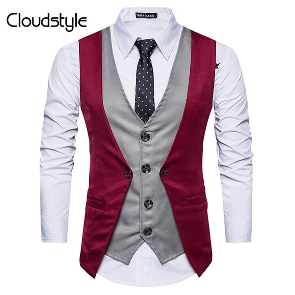 Cloudstyle 2018 New Fashion Men Vest Autumn Multicolor Slim Fit Pure Color Business Mens Vests  Hand Knitted Button Pullovers